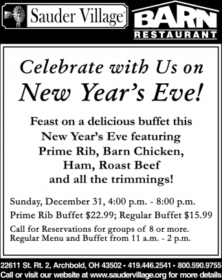 Celebrate with Us on New Year's Eve!