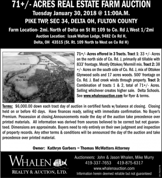 71+/- Acres Real Estate Farm Auction