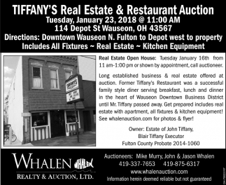 Tiffany's Real Estate & Restaurant Auction