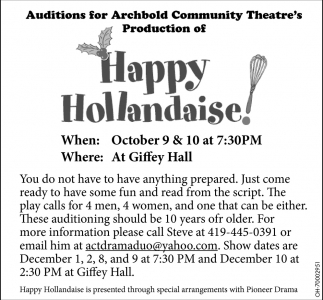 Auditions for Happy Hollandaise!