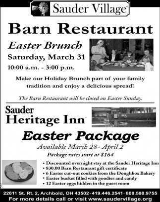 Barn Restaurant Easter Brunch, Heritage Inn Easter Package