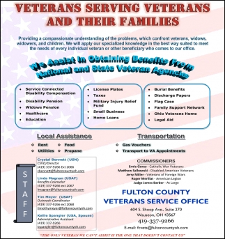 We assist in obtaining benefits from national and state veteran agencies