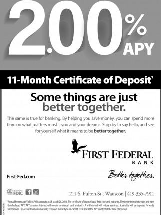 200 Apy 11 Month Certificate Of Deposit First Federal Bank
