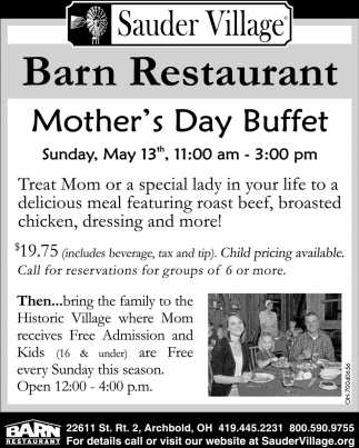 Barn Restaurant Mother's Day Buffet