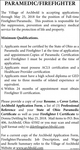 Paramedic/Firefighter