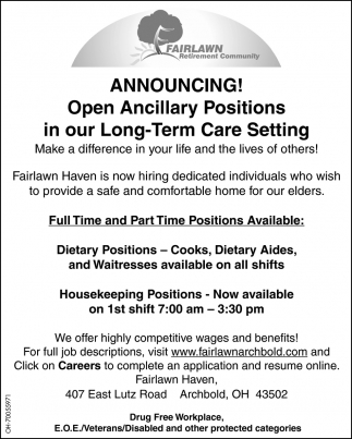 Dietary Positions, Housekeeping Positions