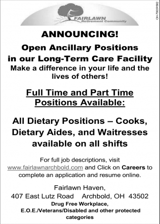 Dietary Positions, Cooks, Dietary Aides, Waitresses