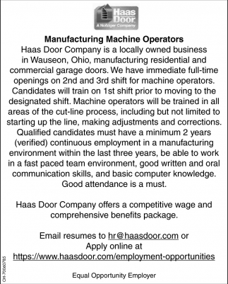 Manufacturing Machine Operators