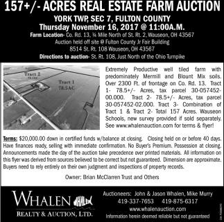 157+/- Acres Real Estate Farm Auction