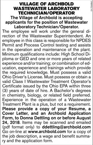 Wastewater Laboratory Technician/Operator