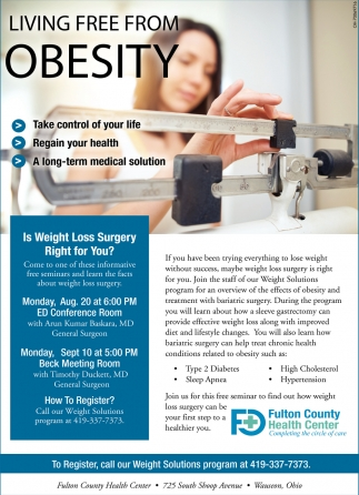Weight Loss Surgery Fulton County Health Center Wauseon Oh