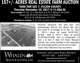 157+/- Acres Real Estate Farm Auction