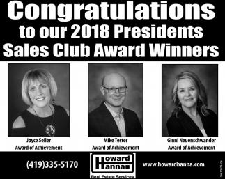 2018 Presidents Sales Club Award