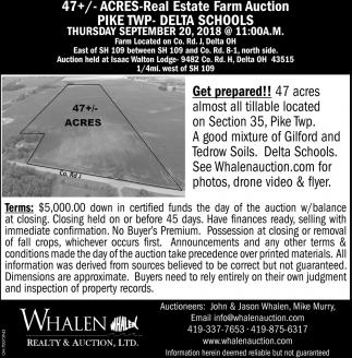 47+/- Acres Real Estate Farm Auction