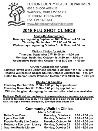 2018 Flu Shot Clinics