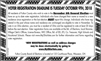 Voter Registration Deadline is Tuesday October 9th, 2018