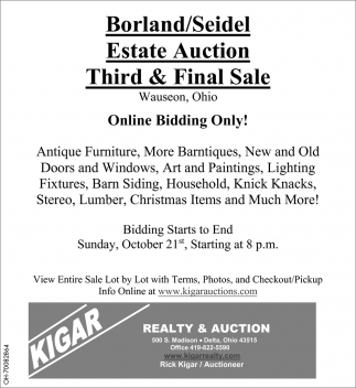 Borland/Seidel Estate Auction Third & Final Sale