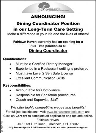Dining Coordinator Position