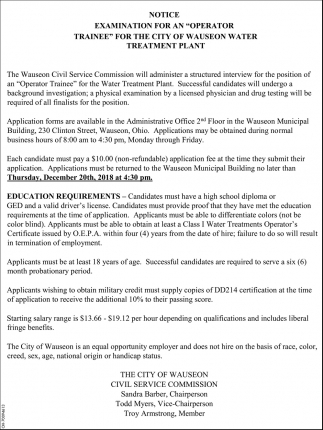 Examination for an operator trainee for the city of Wauseon water treatment plant