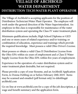 Distribution Tech - Water Plant Operator