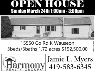 Open House - 15550 Co Rd K, Wauseon