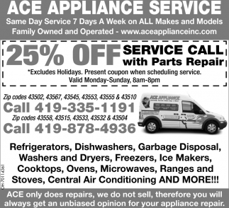20% off Service Call with Parts Repair