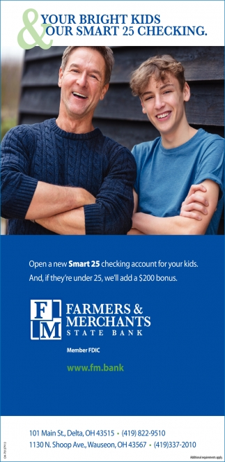 OPen a new Smart 25 checking account for your kids