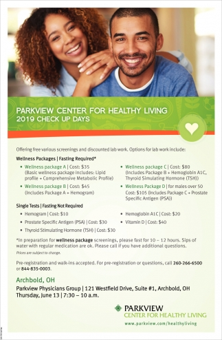Parkview Center for Healthy Living 2019 Check Up Days