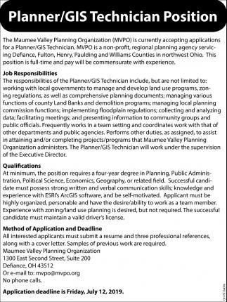 Planner / GIS Technician Position