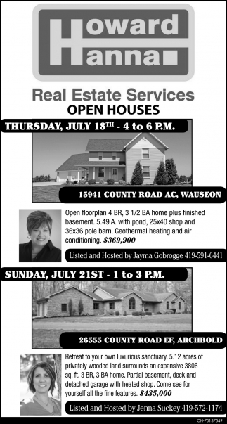 Open Houses - 15941 County Road AC, Wauseon / 26555 County Road EF, Archbold