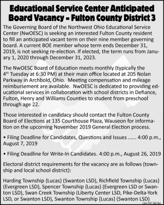Educational Service Center Anticipated Board Vacancy - Fulton County District