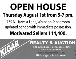 Open House - 735 N. Harvest Lane, Wauseon