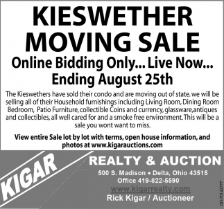 Kieswether Moving Sale