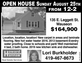 Open House - 135 E. Leggett St, Wauseon