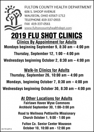 2019 Flu Shot Clinics