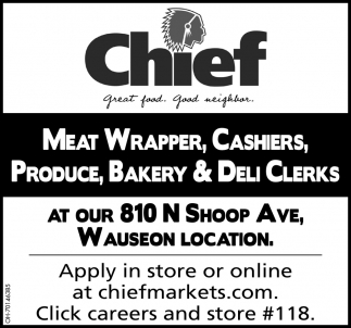 Meat Wrapper, Cashier, Produce, Bakery & Deli Clerks