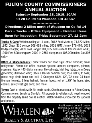 Fulton County Commisioners Annual Auction - September 28