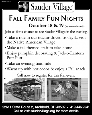 Fall Family Fun Nights - October 18 & 19