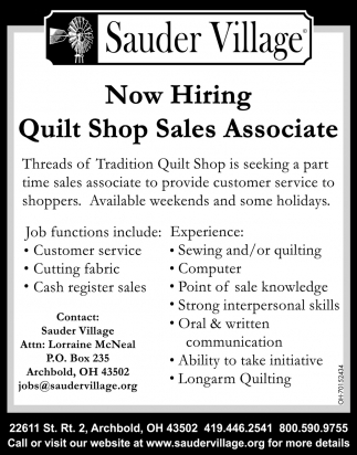 Now Hiring Quilt Shop Sales Associate