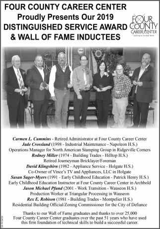 Proudly Presents Our 2019 Distinguished Service Award & Wall Of Fame Inductees