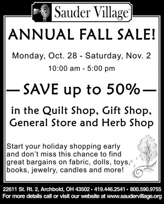 Annual Fall Sale! - Oct. 28