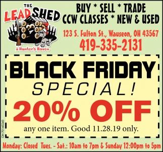 Black Friday Special - 20% Off