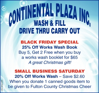 Car Wash - Fill - Drive Thru - Carry Out