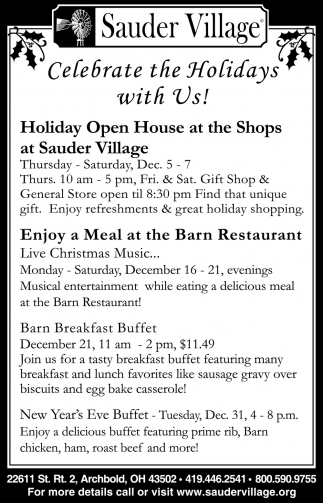 Celebrate the Holidays with Us!