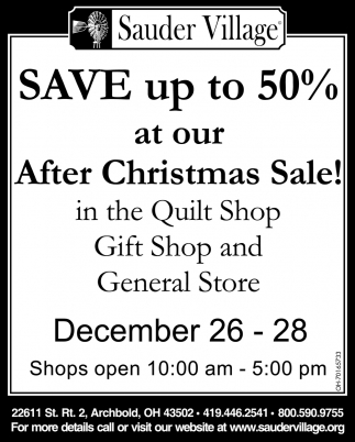 Save up to 50% at our After Christmas Sale!