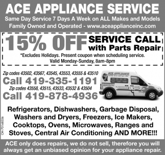 15% off Service Call with Parts Repair