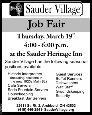 Job Fair - March 19 at the Sauder Heritage Inn