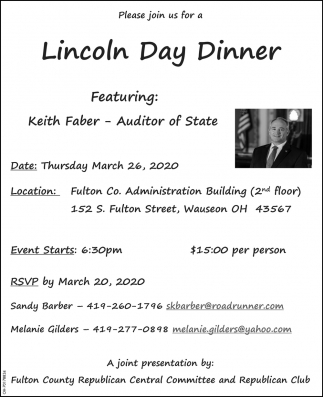 Lincoln Day Dinner - Featuring Keith Faber - Auditor of State